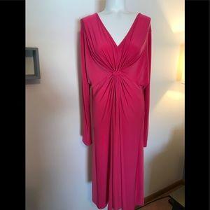 Lane Bryant Pink Stretch Dress, V-Neck.